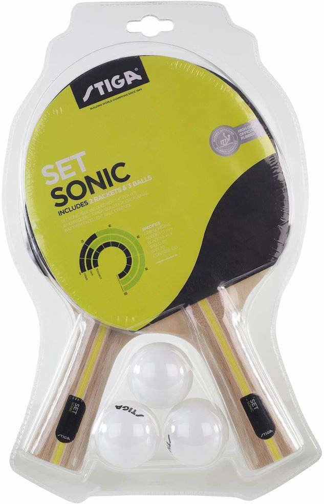 STIGA zestaw rakiety i piłek do tenisa stołowego uniseks Sonic, czarny/czerwony, jeden rozmiar