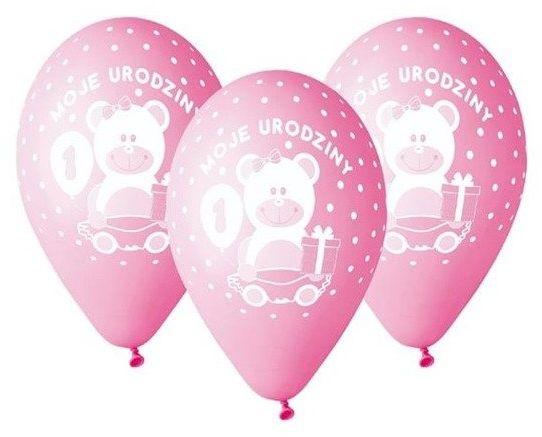 Balony 30cm Moje 1 urodziny z misiem 5 sztuk różowe GD-M1UD1