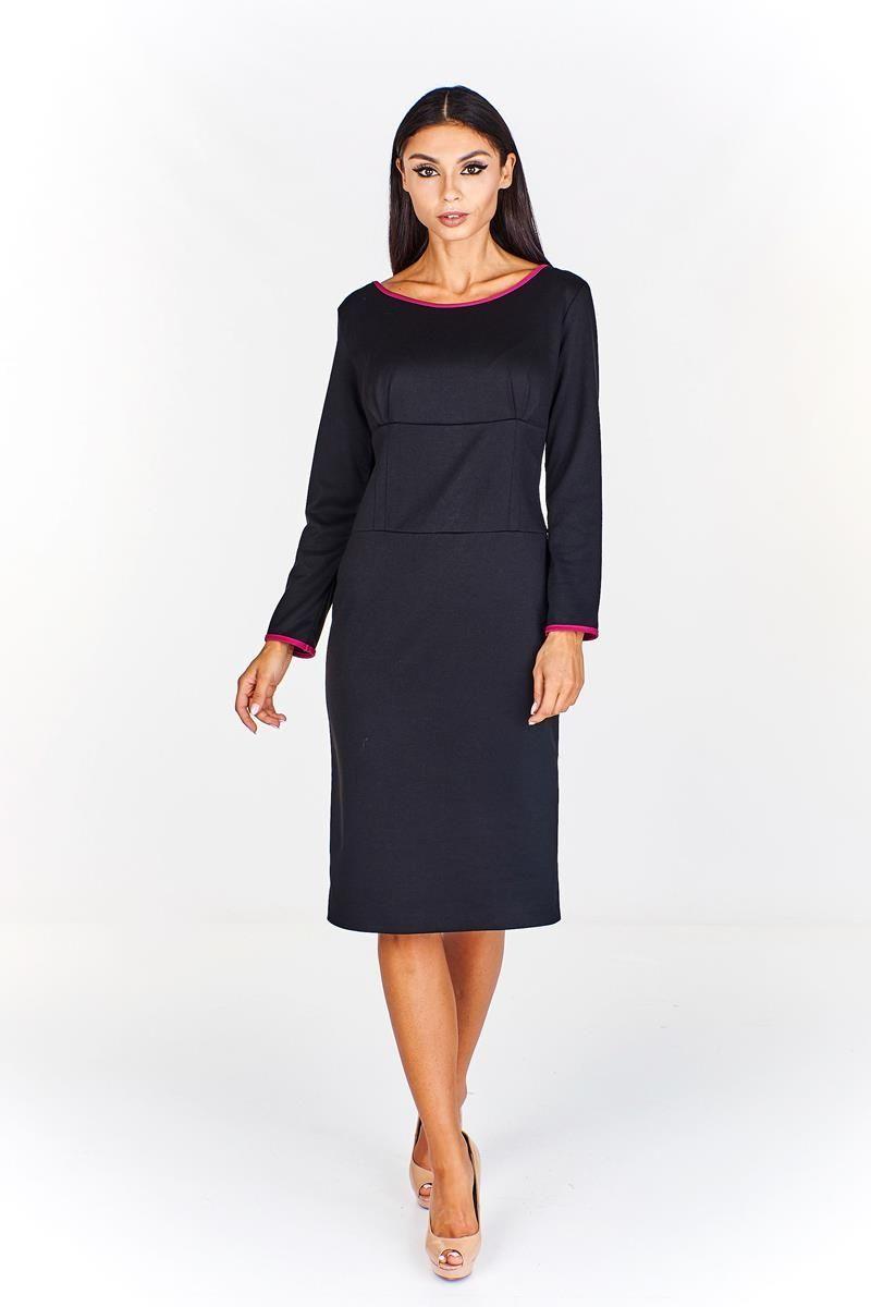 Sukienka FSU761 CZARNY + AMARANTOWY ŚREDNI