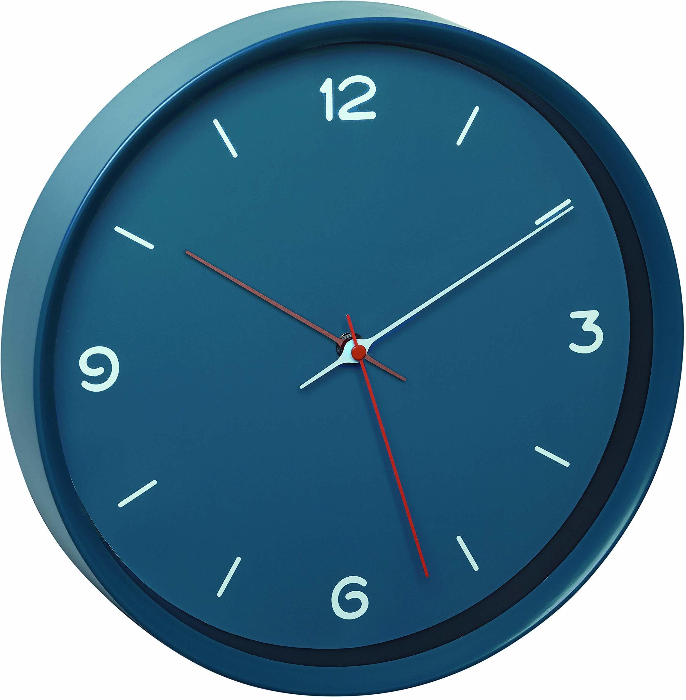 TFA Dostmann analogowy zegar ścienny, 60.3056.06, cichy mechanizm Sweep, zegar kwarcowy, szklana osłona, kolor petrol niebieski, dł. 315 x szer. 50 x wys. 340 mm