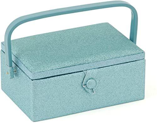 Prezent hobby w tym pudełku do szycia przechowuj Twoje nici, igły i inne akcesoria w wygodny, kompaktowy sposób, niebieski, 24 x 16 x 11 cm
