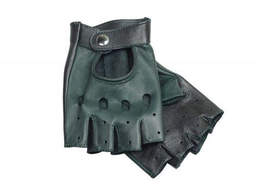 Rękawiczki bez palców czarno zielone, brytyjska zieleń wyścigowa - British Racing Green