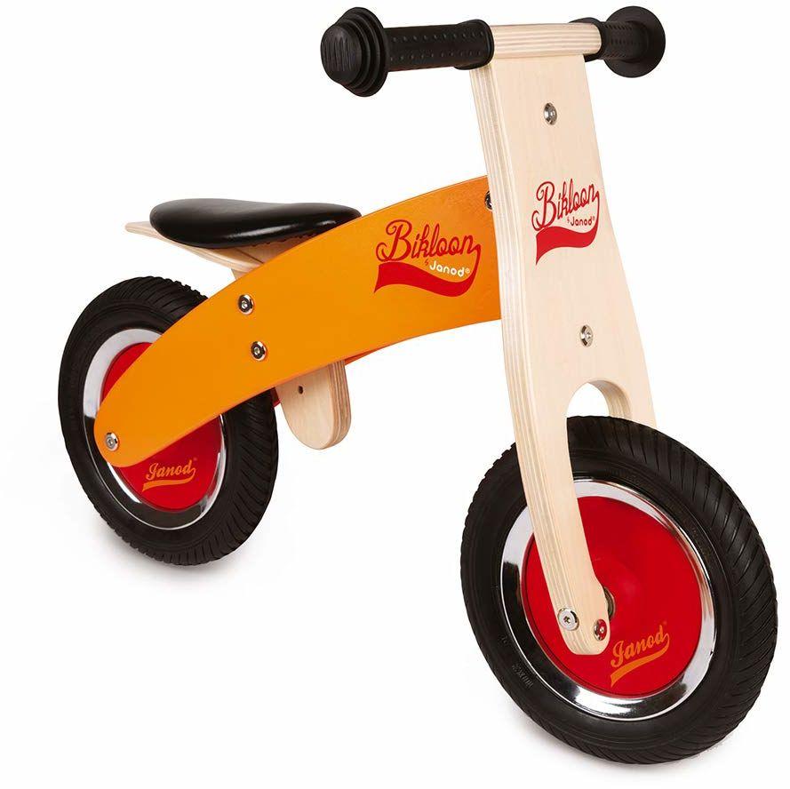 Janod J03263 Little Bikloon rowerek biegowy z drewna, pomarańczowy/czerwony
