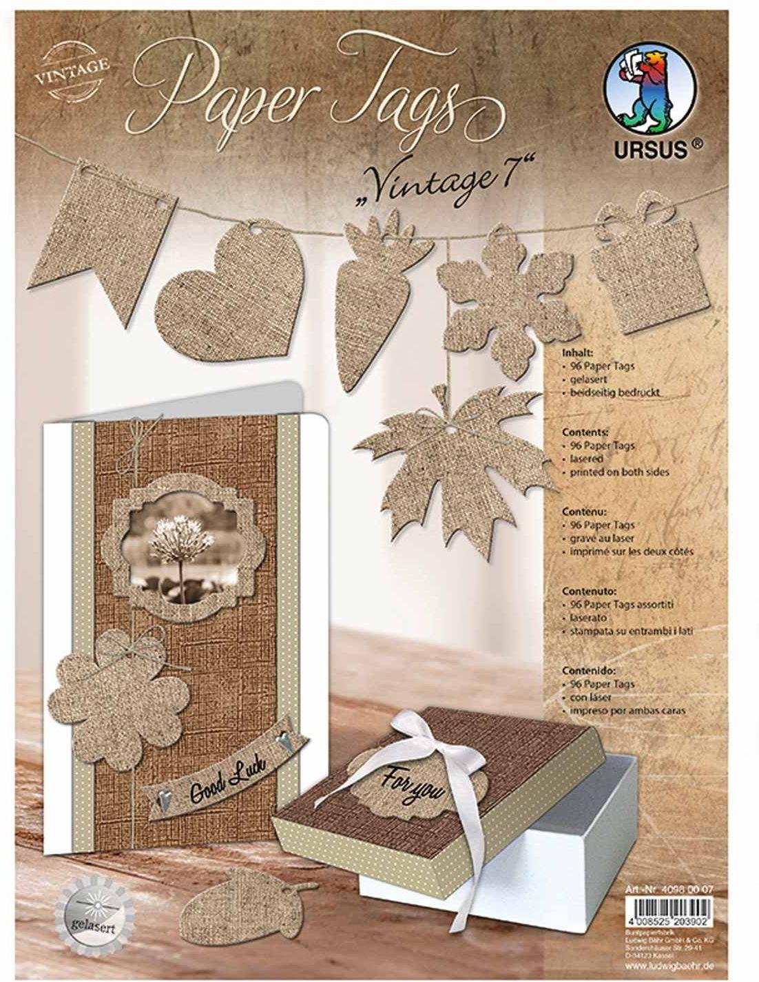 Ursus 40980007  Paper Tags Vintage Len Design, laserowany z różnymi motywami, 5 arkuszy 96-częściowy