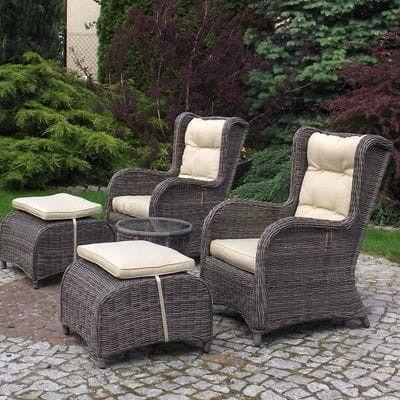 LATINA BIG Fotele ogrodowe z podnóżkami i stolikiem z technorattanu (Brąz matowy, Popiel)
