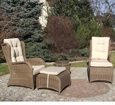 LATINA BIG Fotele ogrodowe z podnóżkami i stolikiem z technorattanu (Brąz matowy, Beż)