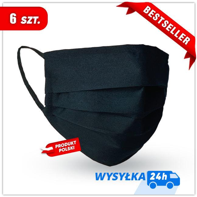 MASKK Maseczka Bawełniana Czarna Wielorazowa 6 sztuk (8,30 zł sztuka)