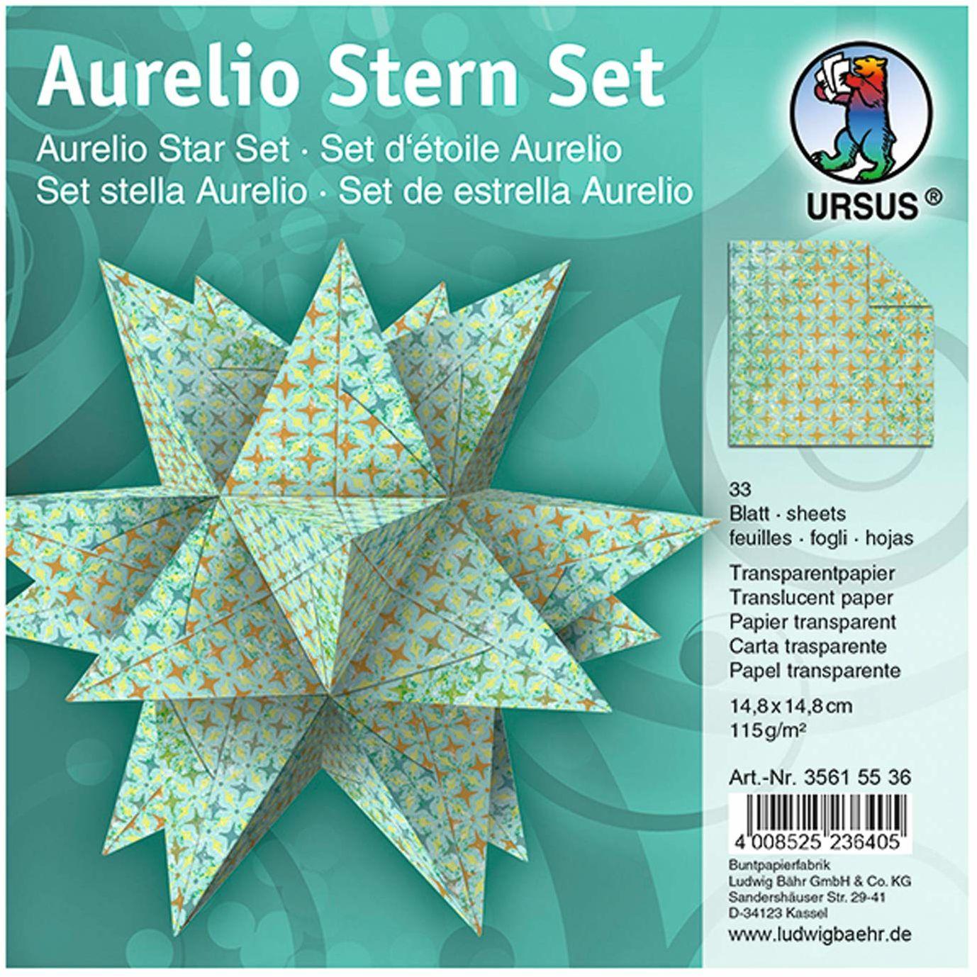 URSUS 35615536 - arkusze Aurelio gwiazda Paradiso, 33 arkusze papieru przezroczystego po 14,8 x 14,8 cm, 115 g/m , zadrukowane jednostronnie, piękne papierowe gwiazdy na Boże Narodzenie, turkusowe