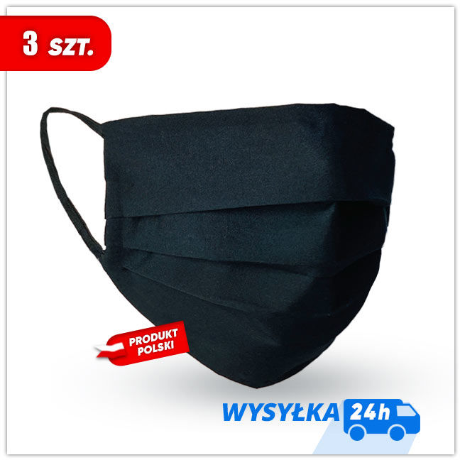MASKK Maseczka Bawełniana Czarna Wielorazowa 3 sztuki (9,40 zł sztuka)