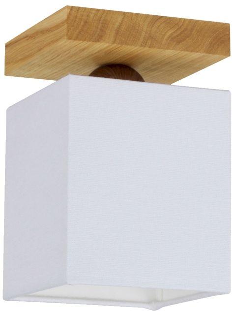 Spot Light 2284174 Inger plafon lampa sufitowa drewno dąb olejowany abażur tkanina biały prostokątny 1xE27 25W 13,5cm