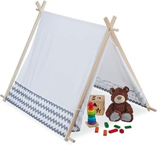 Relaxdays 10035301 namiot dla dzieci Tipi z oknami, namiot do pokoju dziecięcego, namiot dziecięcy Wigwam, wys. x szer. x gł.: 92 x 92 x 120 cm, biało-szary