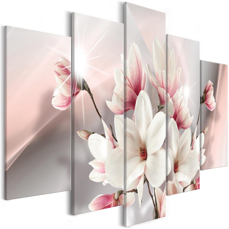 Obraz - magnolia w rozkwicie (5-częściowy) szeroki