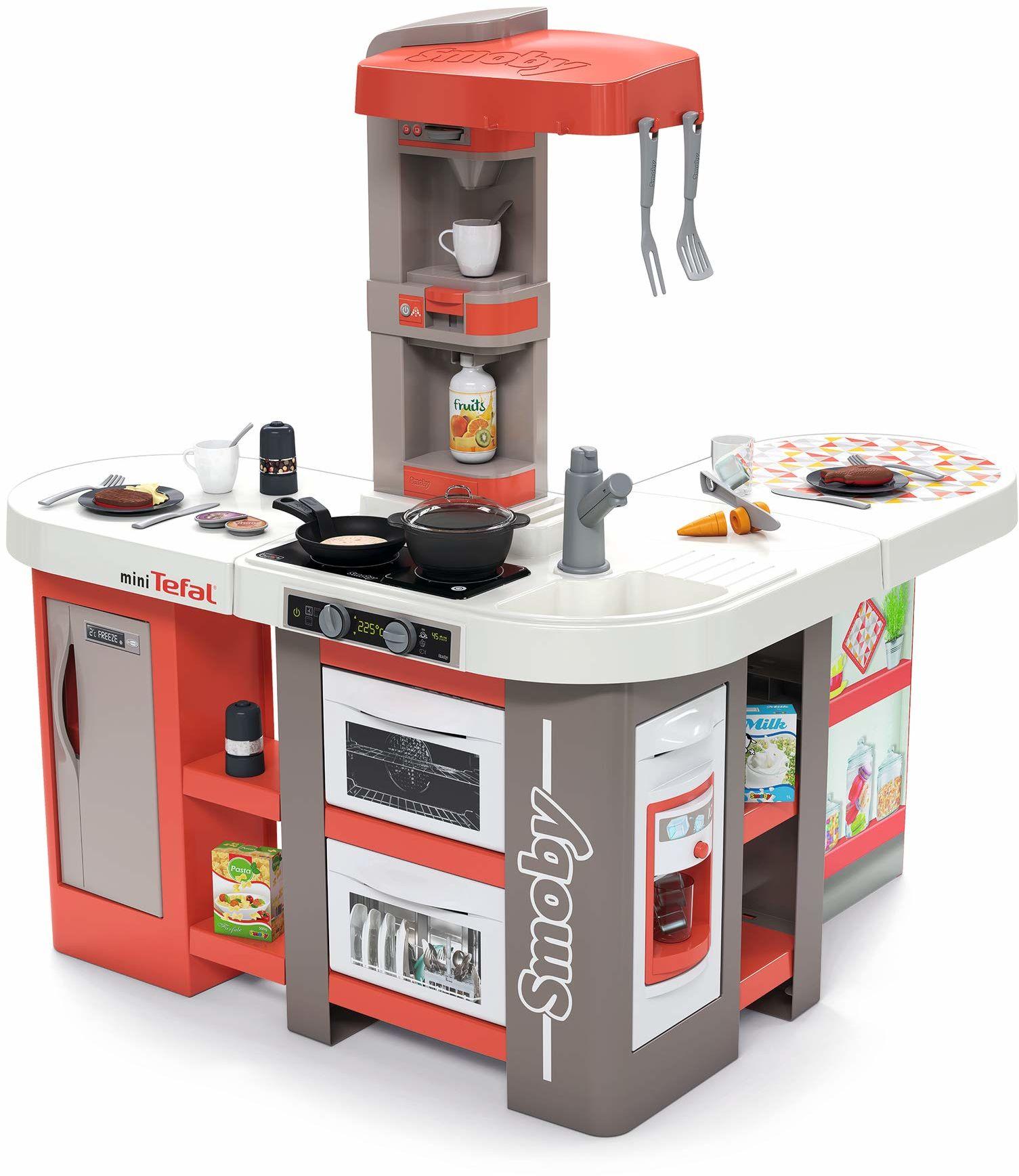 Smoby - Tefal Studio Bubble XXL kuchnia w ekstrawaganckim kształcie, z dźwiękiem, dla dzieci od 3 lat, z dużą ilością akcesoriów, kolor czerwony