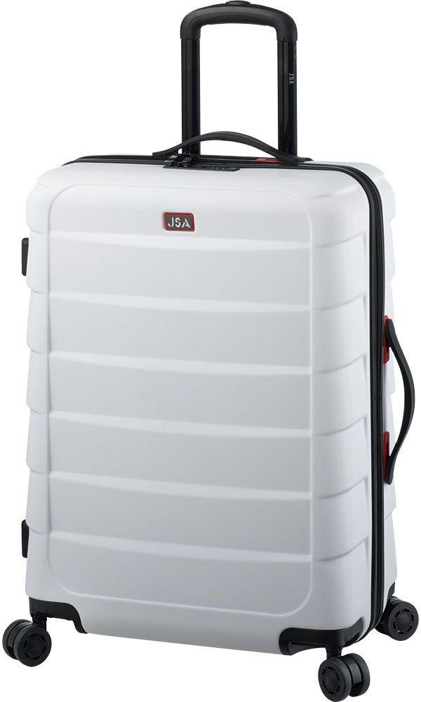 JSA walizka podróżna na kółkach z tworzywa sztucznego ABS, walizka podróżna z 4 podwójnymi kółkami 360 , 62 cm, biały (szary) - 45592
