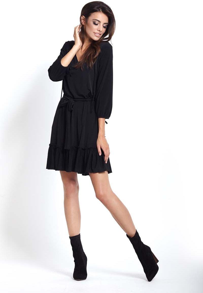 Czarna codzienna wygodna sukienka z falbanką