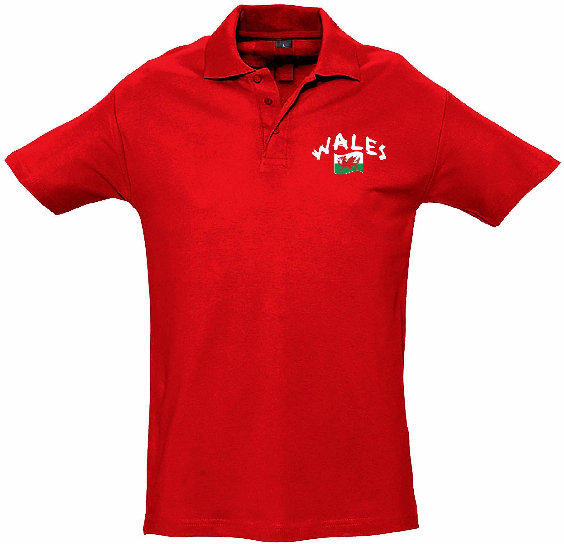 Supportershop Dziecięca koszulka polo Rugby Wales XL czerwona