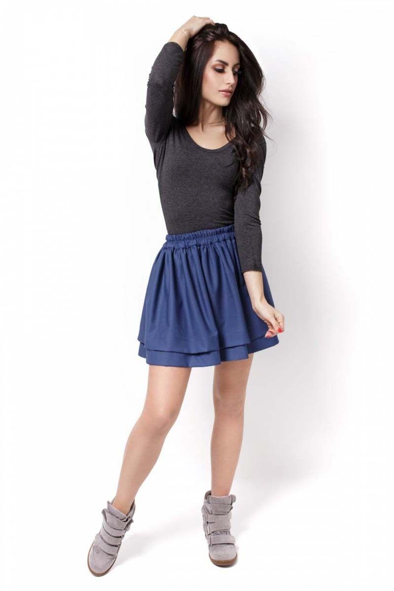Niebieska krótka spódnica z falbanami na gumce