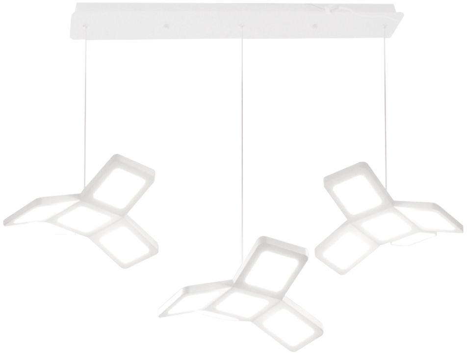 Milagro PIXELS ML195 lampa wisząca trzy źródła światła biały metal akryl regulacja wysokości obudowa w kształcie wiatraka 48W LED 4000K 70cm