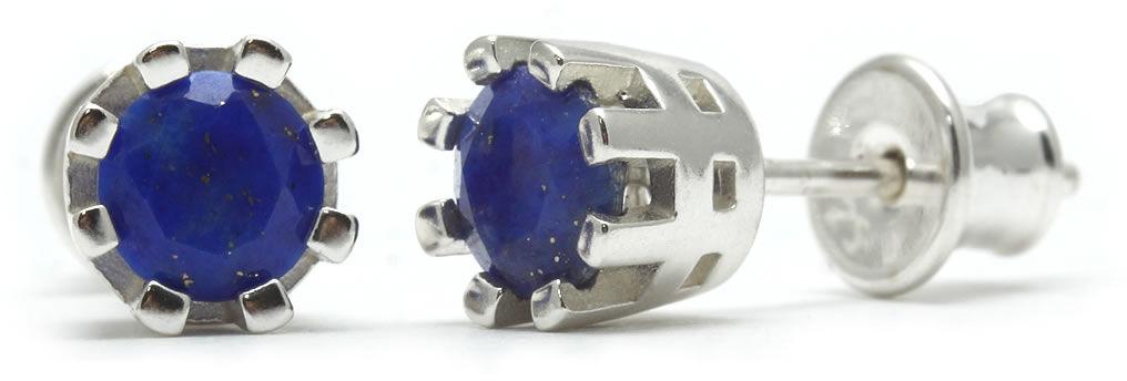 Kuźnia Srebra - Kolczyki srebrne sztyft, 15mm, Lapis Lazuli, 2g, model