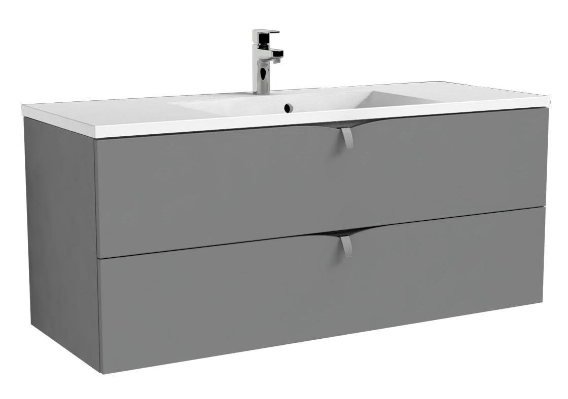 Oristo Siena szafka z umywalką Amelia 120x50x45 szary mat OR45-SD2S-120-12/UME-AM-120-92-C