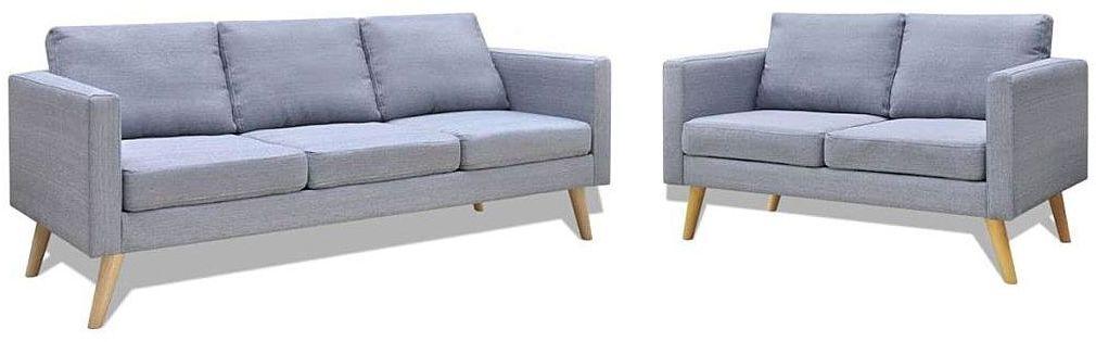 Komplet 2 sof wypoczynkowych Bailey - Jasnoszary
