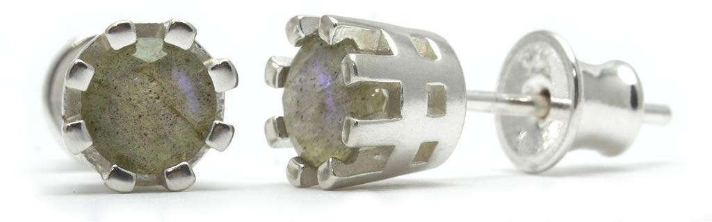 Kuźnia Srebra - Kolczyki srebrne sztyft, 15mm, Labradoryt, 2g, model