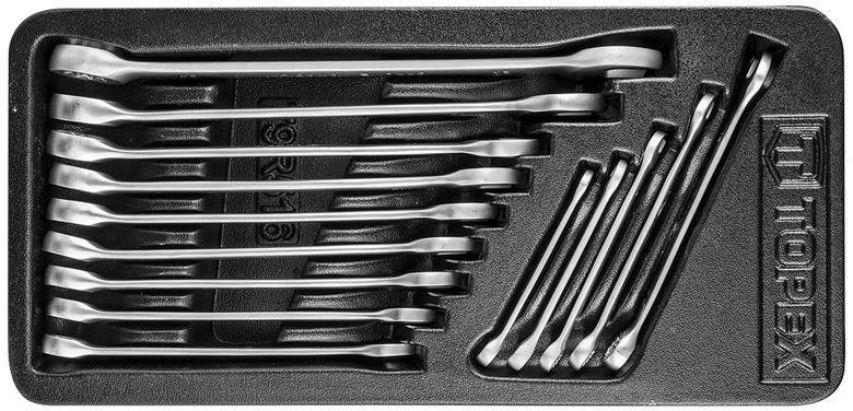 Klucze płasko-oczkowe 6-19 mm stal CrV (zestaw 8 szt.) 35D756