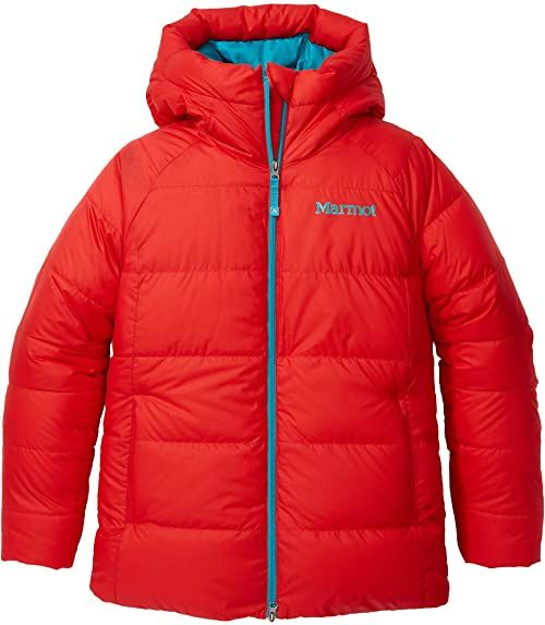 Marmot Damska kurtka puchowa Mt. Tyndall, ciepła kurtka puchowa, izolowany płaszcz zimowy z kapturem, wiatroszczelna parka, kurtka pikowana, lekka kompaktowa kurtka wyprawowa czerwony Victory Red XL