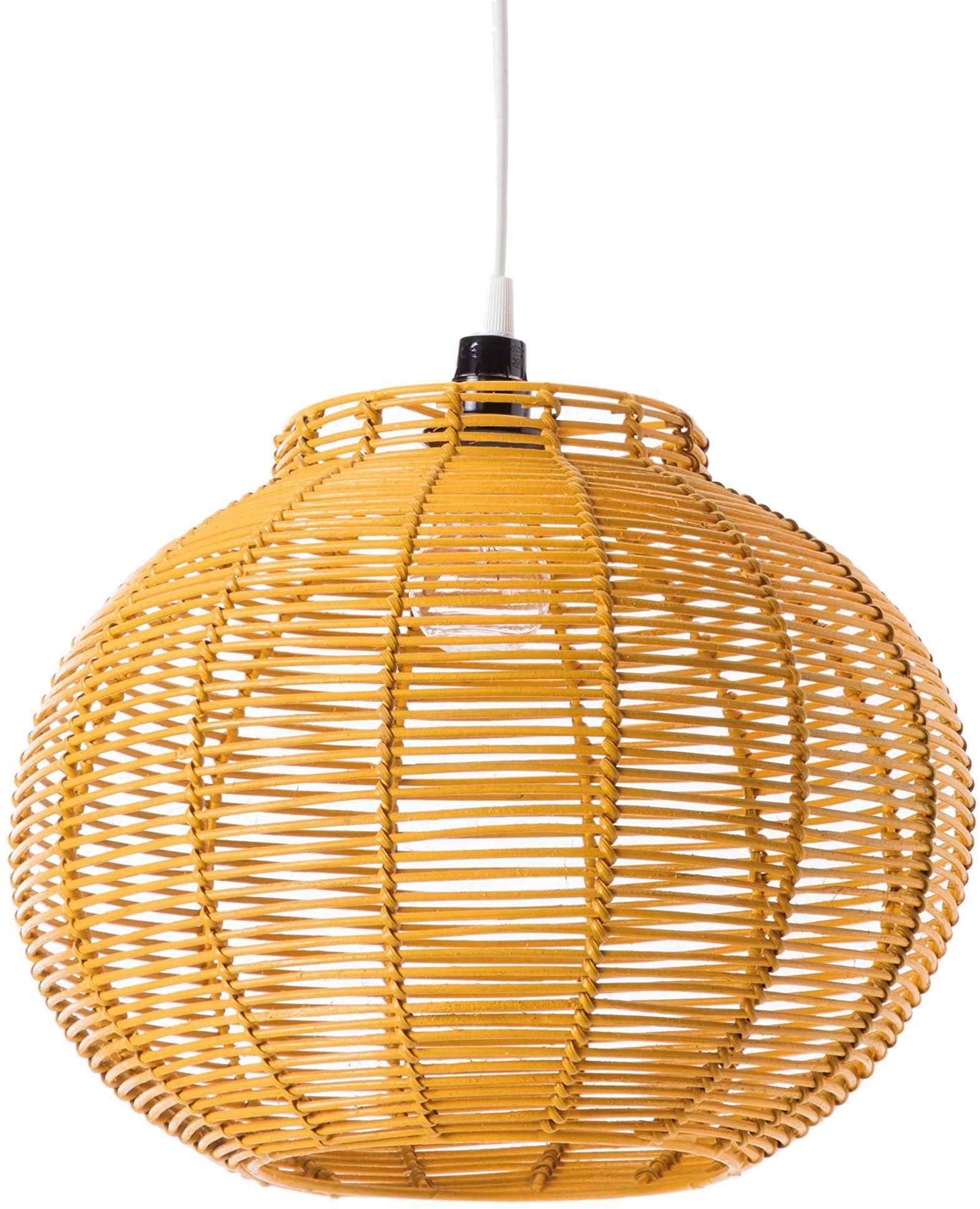 Lampa wisząca Korba żółty rattan 60 watów żółty Ø 30 x wys. 24 cm