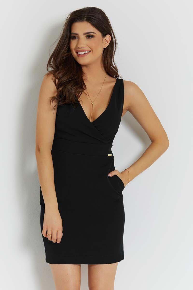 Czarna stylowa sukienka ołówkowa na szerokich ramiączkach
