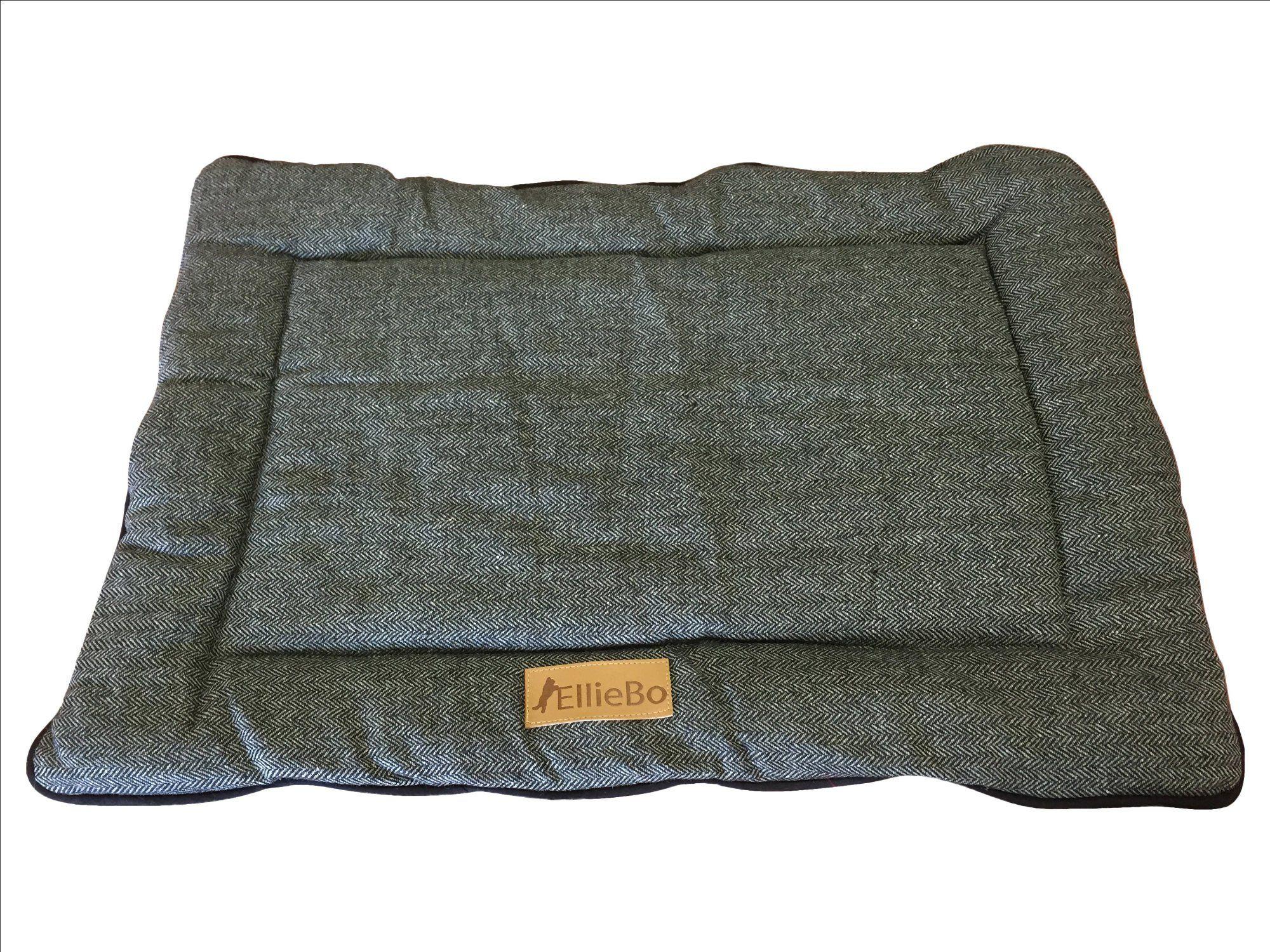 Ellie-Bo dwustronne tweedowe i szare sztuczne futro mata łóżko dla średnich 76 cm klatki i skrzynek dla psa szczeniaka