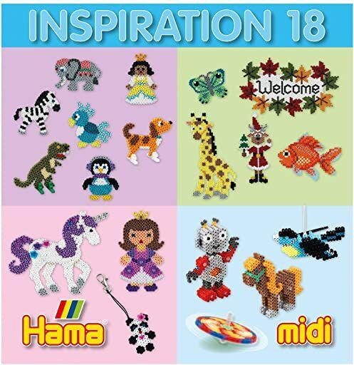 Hama Perlen 399-18 zeszyt inspirujący nr 18 zeszyt z kolorowymi pomysłami, motywami i instrukcjami do majsterkowania z koralikami do prasowania, kreatywna zabawa dla dużych i małych