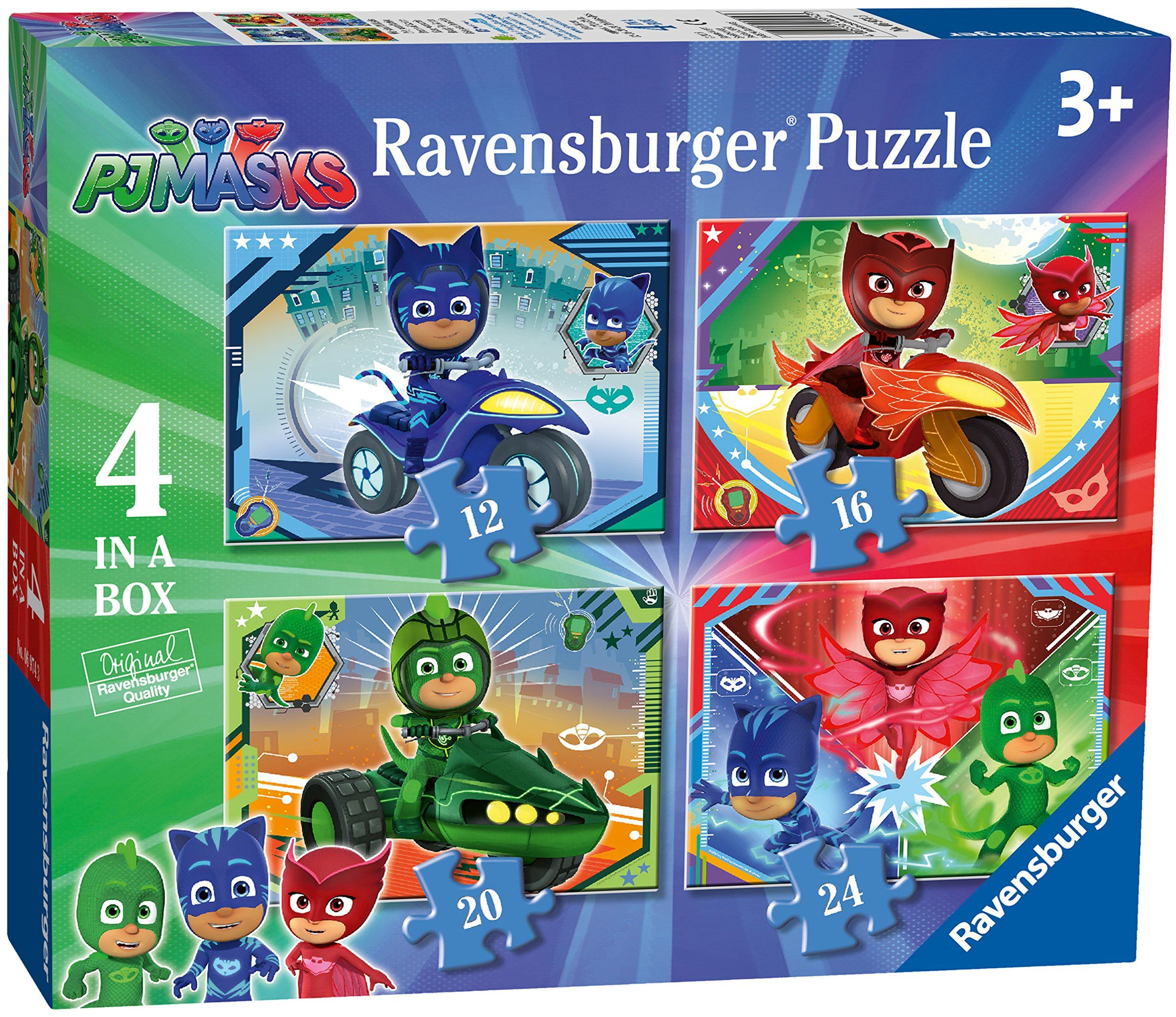 Ravensburger 6974 PJ Masks-4 w pudełku (12, 16, 20, 24 sztuk) puzzle dla dzieci w wieku od 3 lat