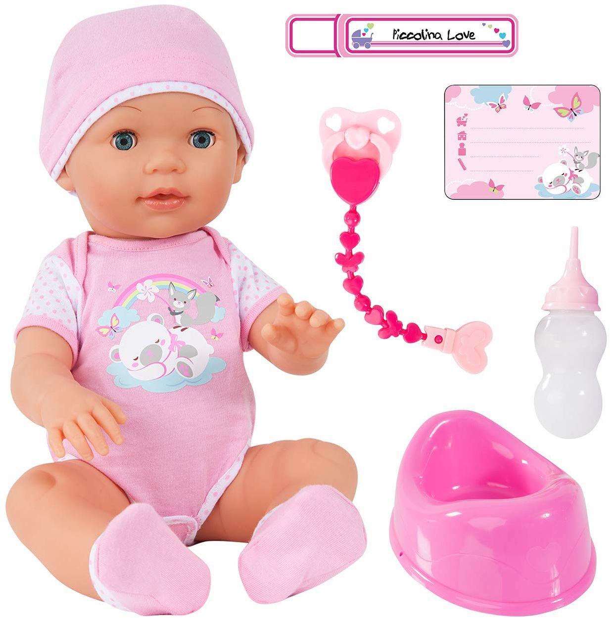 Bayer Design 94209AA lalka funkcyjna, interaktywna Piccolina Love, która może sprawić, że oczy będą zamknięte, w zestawie akcesoria, różowa