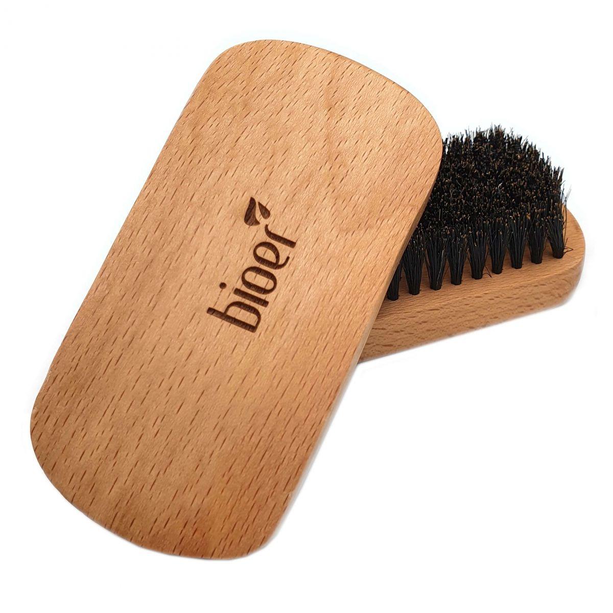 Kompaktowa Szczotka / Kartacz do brody z naturalnym włosiem z dzika marki Bioer
