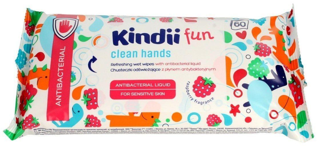 HARPER Kindii Fun Chusteczki odświeżające dla dzieci z płynem antybakteryjnym 1op.-60szt