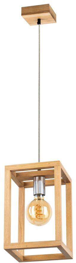 Spot Light 61580174 Kago lampa wisząca industrialna klosz prostokątny drewno dąb olejowany chrom/transparentny 1xE27 60W 20cm