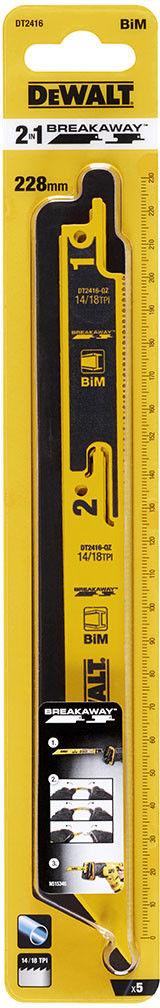 komplet 5 szt. brzeszczotów bagnetowych łamanych 228mm, DeWALT [DT2416]