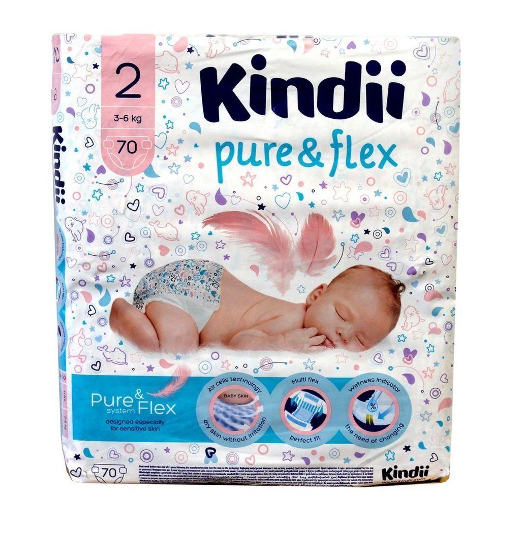 HARPER Kindii Pure & Flex Pieluchy jednorazowe 2 (3-6kg) 1op.-70szt