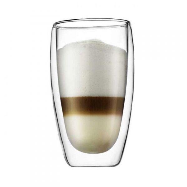 Bodum PAVINA Szklanki Termiczne o Podwójnych Ściankach do Kawy Latte 460 ml - Zestaw 2 Szklanek