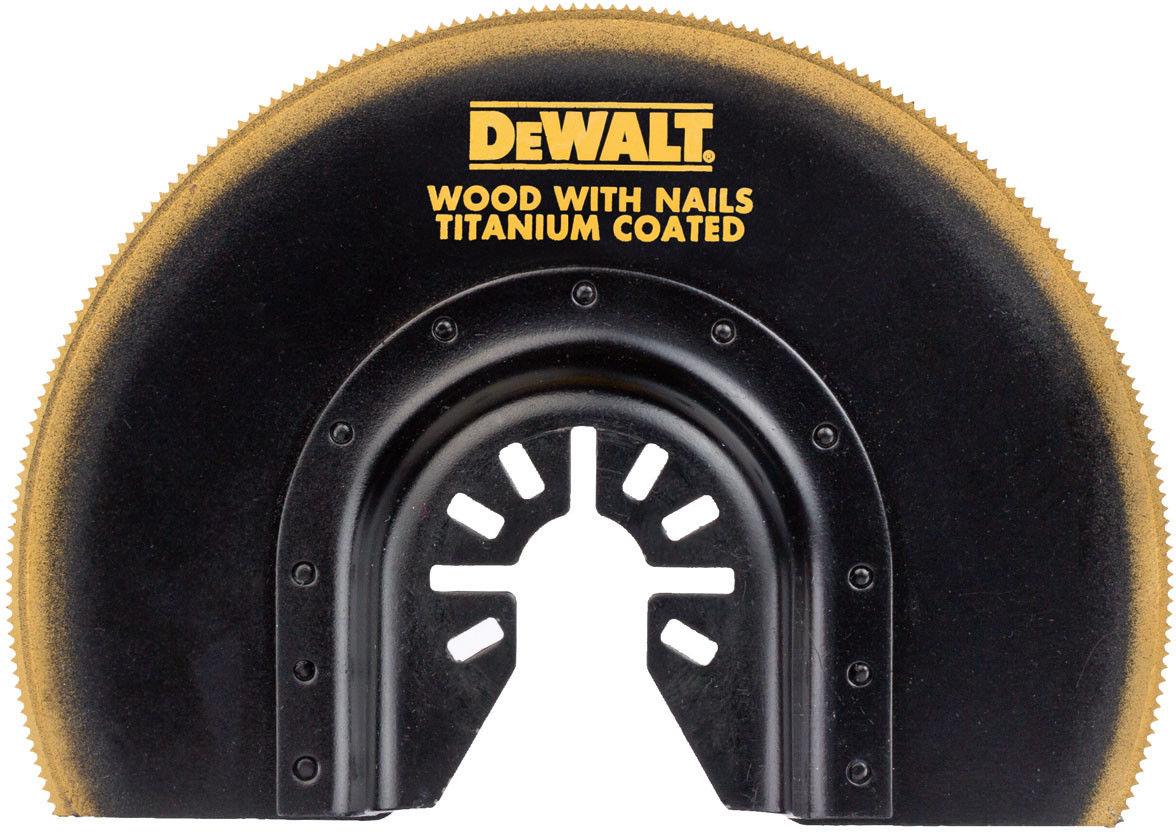 półokrągły brzeszczot do narzędzi wielofunkcyjnych z powłoką tytanową o średnicy 100mm do cięcia drewna, drewna z gwoździami i PVC, DeWALT [DT20711-QZ]