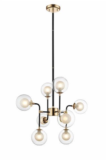 Lampa wisząca Riano P0454-08C-SDGF Zuma Line czarno-złota oprawa w nowoczesnym stylu