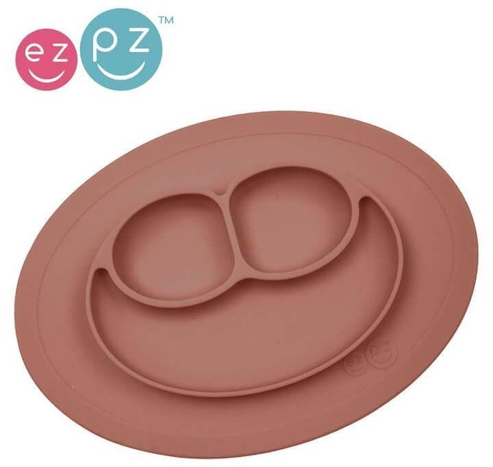 Silikonowy talerzyk z podkładką mały 2w1 mini mat brązowy, ezpz