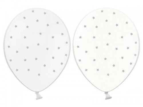 """Balon 14"""" Crystal Clear i biały w srebrne gwiazdki"""