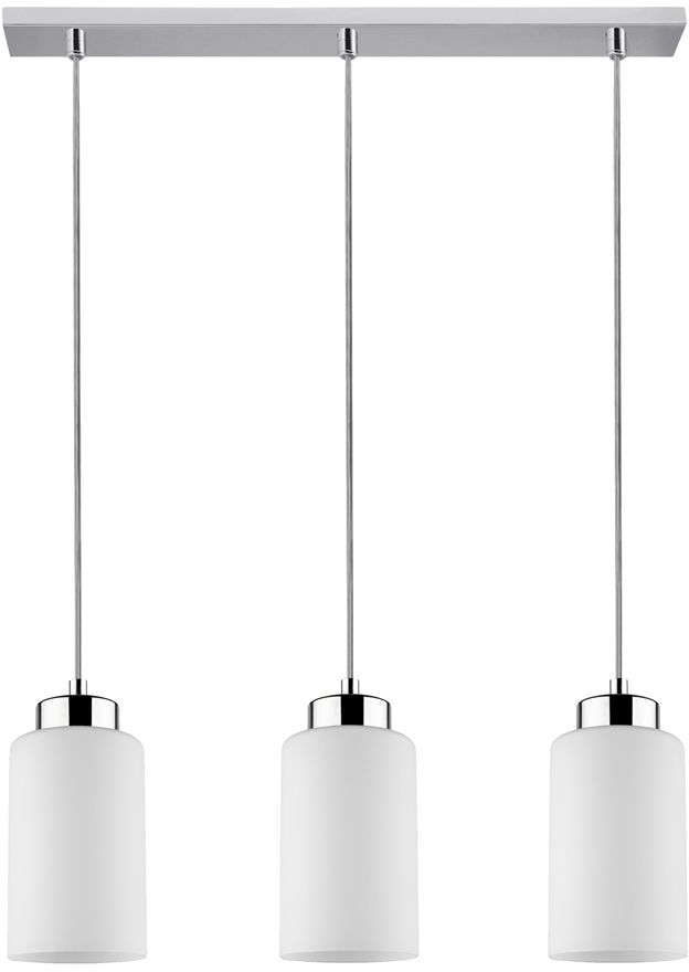 Spot Light 1720328 Bosco lampa wisząca metalowa chrom/transparentny klosze szklane biały 3xE27 60W 52cm