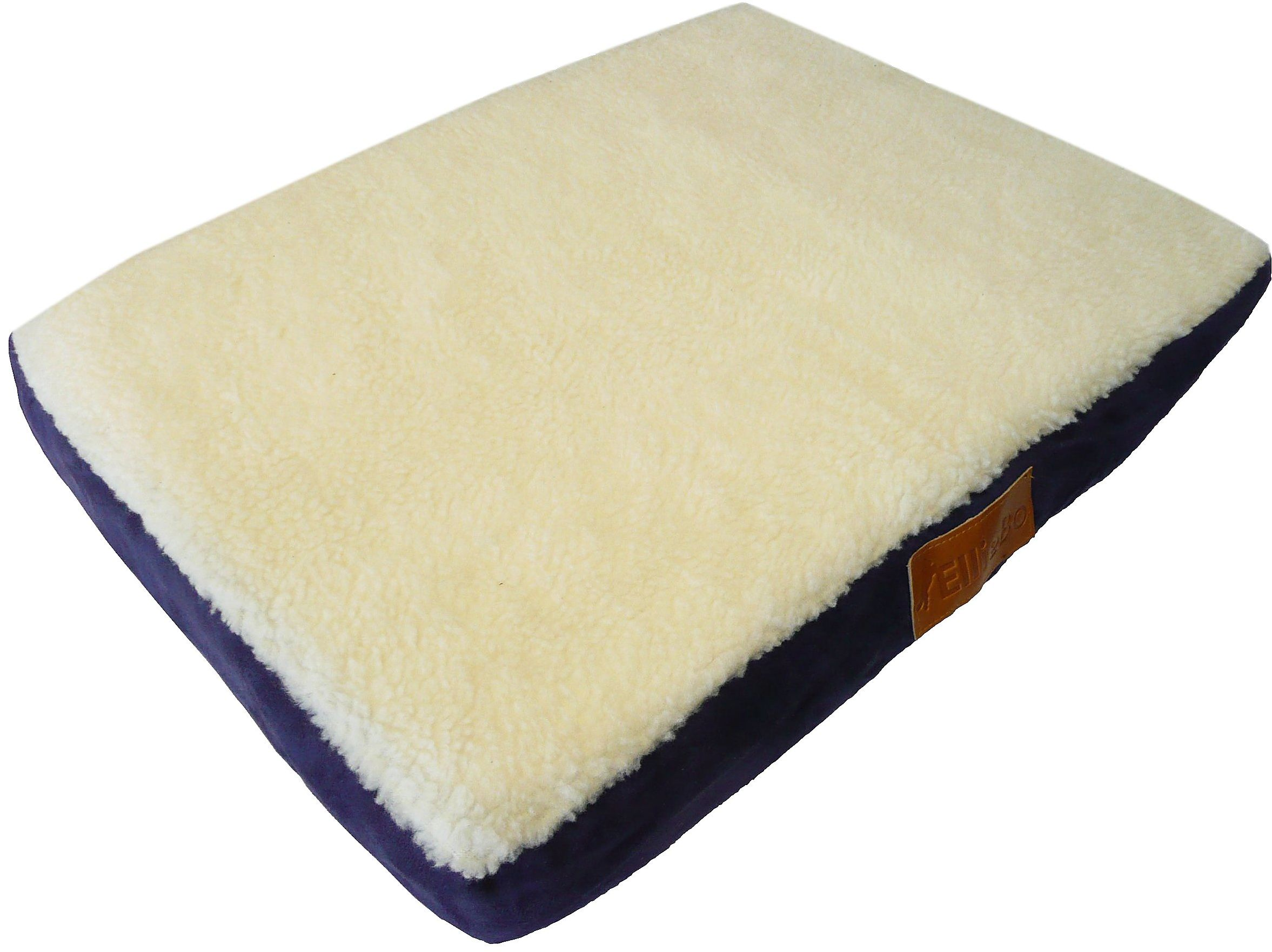 Ellie-Bo ortopedyczne łóżeczko dla psa z imitacją zamszu i owczej skóry do klatki dla psów / klatki średniej 76 cm niebieski