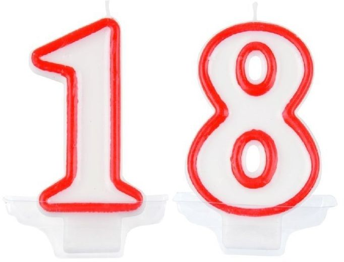 Świeczki urodzinowe 18 pt18