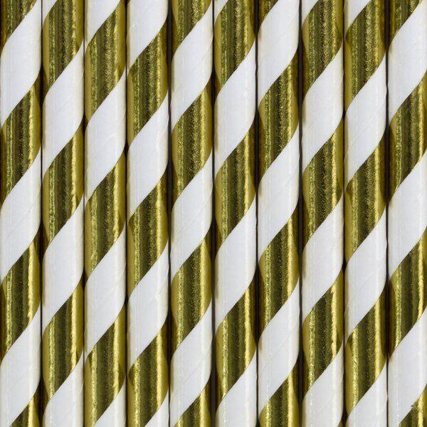 Słomki papierowe złote metaliczne w paski 10 sztuk SPP1M-019