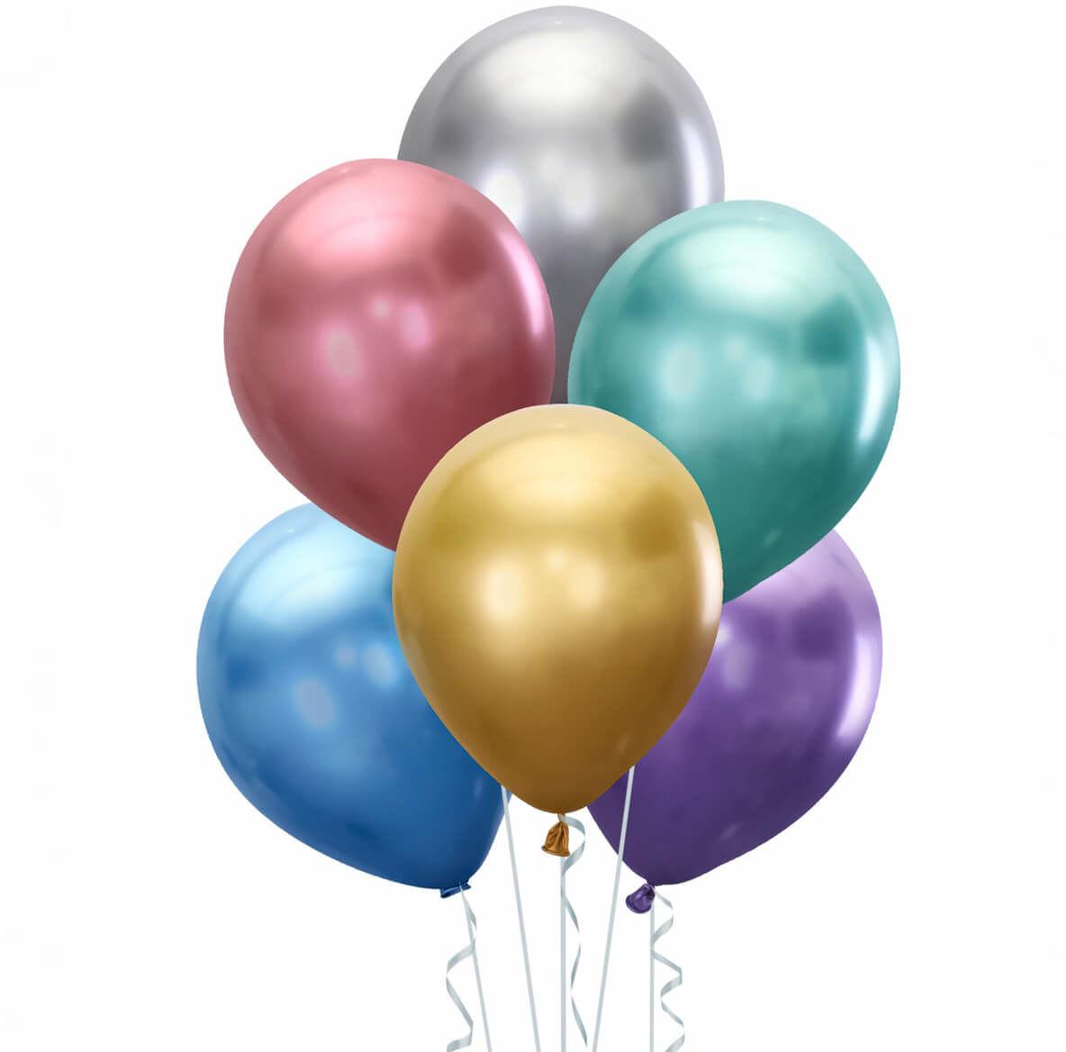 Zestaw balonów chromowanych mix kolorów - 30 cm - 5 szt.