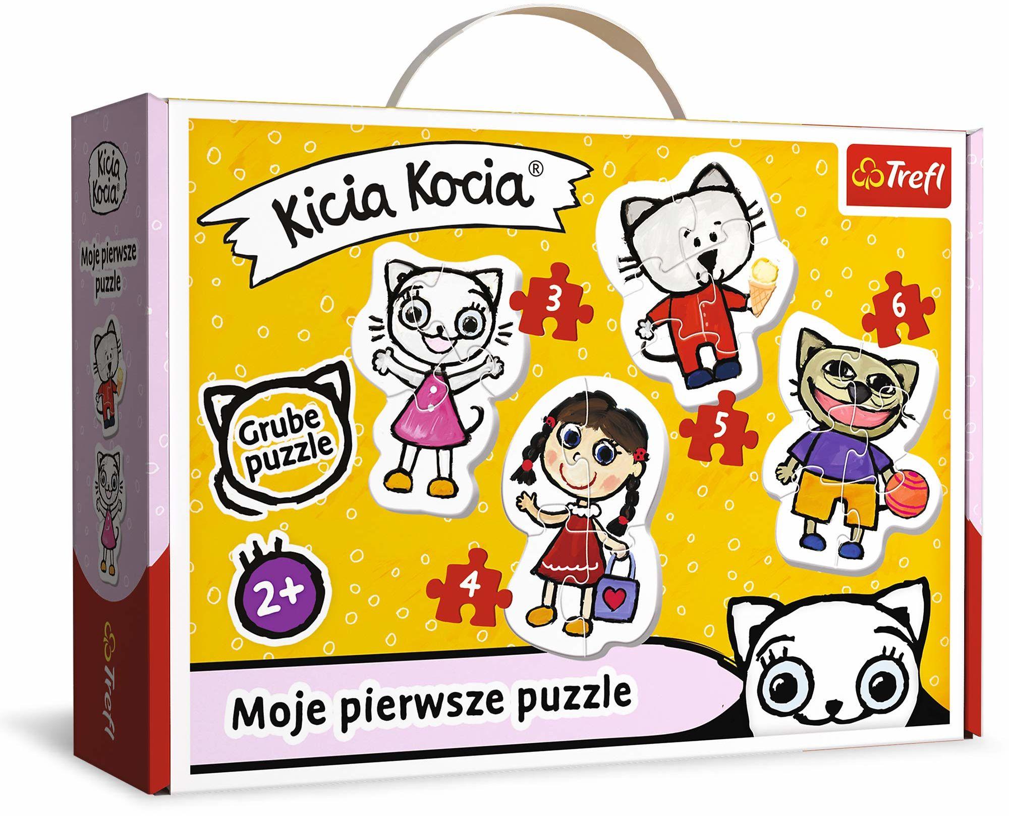 Trefl Wesoła Kicia Kocia Puzzle 4 w 1 Baby Classic z Grubego Kartonu dla Dzieci od 2 lat